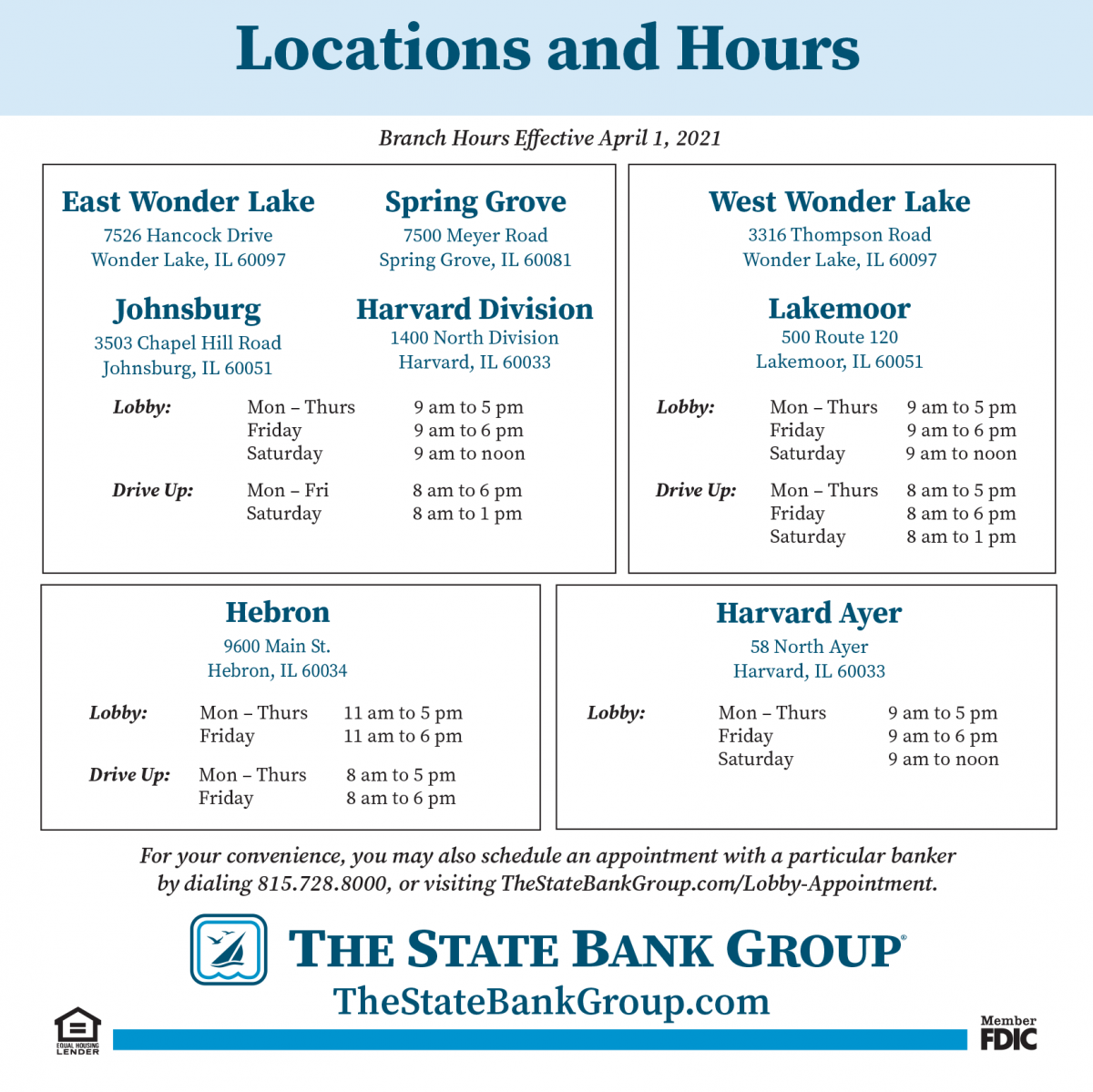 new hours effective April 1st 2021