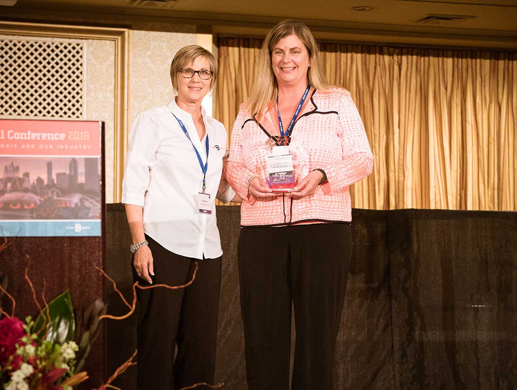 Michelle Toll (right) TSBG EVP / COO and Linda Koch (left) IBA President & CEO