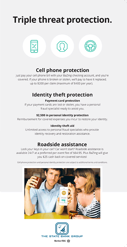 Triple threat protection. Cell phone protection. Identity theft protection. roadside assistance