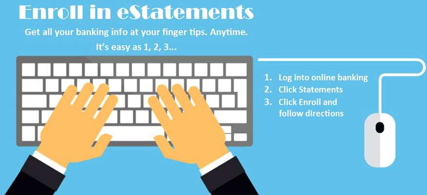 Enroll in eStatements, Get all your banking info at your finger tips. Anytime. It's easy as 1, 2, 3... 1. Log into online banking. 2. Click Statements. 3. Click Enroll and follow directions.