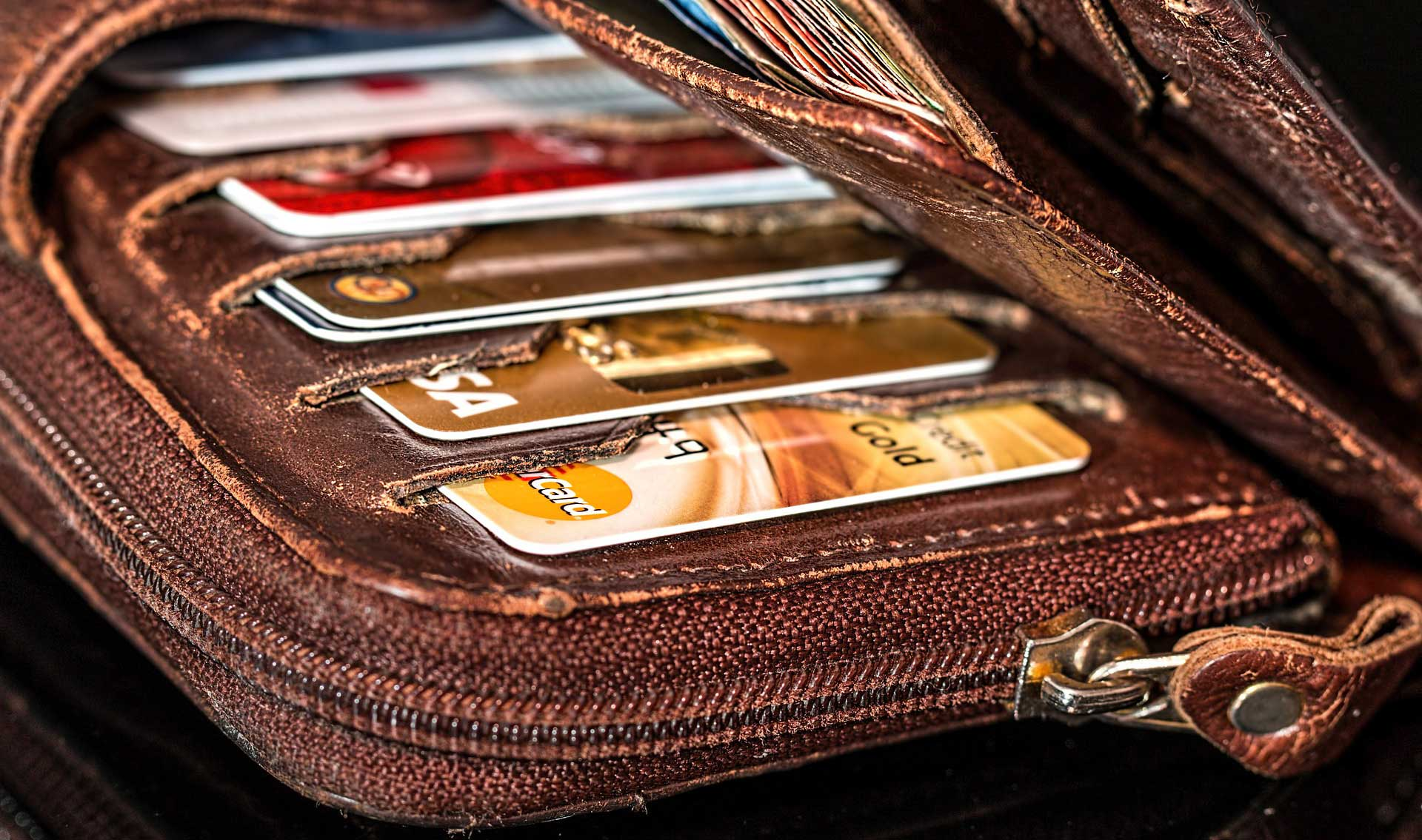 Wallet filled with credit cards