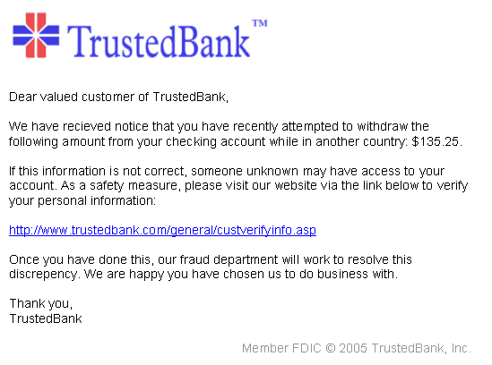 Example of an email pretending to be from your bank
